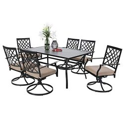 PHI VILLA Outdoor Patio 60 inch Rectangular Dining Table and Bistro Swivel Chairs Set of 7- Meta ...