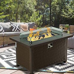 Aoxun Outdoor Propane Fire Pit Table – 43 Inch 50,000 BTU Gas Fire Pit Table for Garden,Co ...