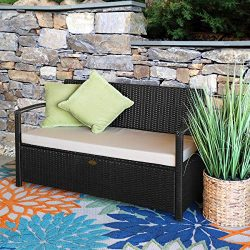 Barton Outdoor Garden All Weather Storage Bench with Backrest Armrest Patio Deck Box Wicker with ...