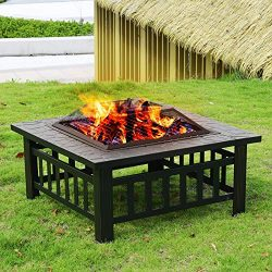 FDW 32″ Pit Square FirePit Metal Fire Bowl Fireplace Backyard Patio Garden Stove for Campi ...