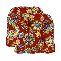 RSH Décor Set of 2 Indoor Outdoor Wicker Chair Cushion U Shape (Daelyn Cherry Red Yellow Blue Gr ...