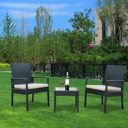 Bartfort Rattan Wicker Garden Furniture Set 3 Piece Patio Outdoor Rattan Patio Set Includes Cush ...