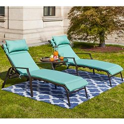 LOKATSE HOME 3 Pieces Outdoor Patio Chaise Lounges Chairs Set Adjustable with Folding Table, Lig ...