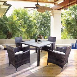 Merax 5 Pieces Patio Dining Sets, Outdoor Rattan Dining Furniture Sets with 4 Wicker Chairs and  ...
