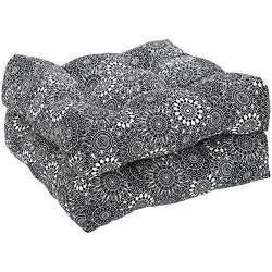 AmazonBasics Tufted Outdoor Seat Patio Cushion – Pack of 2, 19 x 19 x 5 Inches, Black Floral