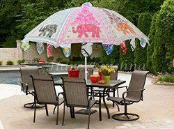 Hare Krishna Indian Vintage Outdoor Handmade Embroidery Design Cotton Garden Umbrella Gifts Para ...