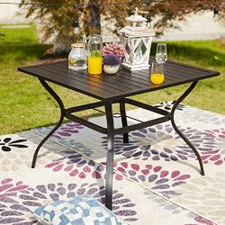 LOKATSE HOME 37″ x 37″ Patio Dining Table Square Outdoor Metal Steel Frame with Umbr ...