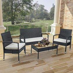 Merax 4 PC Rattan Patio Furniture Set Wicker Conversation Set Garden Lawn Outdoor Sofa Set Cushi ...