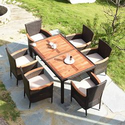 Tangkula 7 PCS Outdoor Patio Dining Set, Garden Dining Set w/Acacia Wood Table Top, Stackable Ch ...