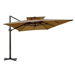 Abba Patio Rectangular Offset Cantilever Umbrella Dual Wind Vent Patio Hanging Umbrella with Cro ...