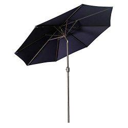 Aok Garden 9 Feet Outdoor Market Patio Umbrella with Push Button Tilt and Crank Lift Ventilation ...