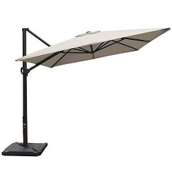 Abba Patio Rectangular Offset Cantilever Umbrella Outdoor Patio Hanging Umbrella with Cross Base ...