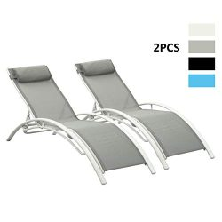 PCAFRS Adjustable Chaise Lounge Chair with Headrest, Set of 2 Aluminum for Sunbathing On Outdoor ...