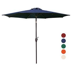 KINGYES 9Ft Patio Table Umbrella Outdoor Umbrella with Push Button Tilt and Crank for Commercial ...