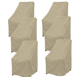 Premium Tight Weave Patio High Back Chair Covers Set of 6 with securing Device up to 42″ H ...