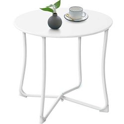 Amagabeli Outdoor Side Tables for Patio End Table Weather Resistant Small Round Coffee Table Ste ...