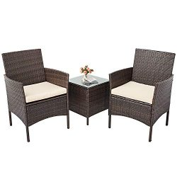 Incbruce Patio Bistro Set 3-Piece Outdoor Wicker Furniture Sets, Brown Modern Rattan Garden Conv ...