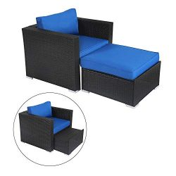 Kinsunny Wicker Furniture Set PE Wicker Rattan Outdoor All Weather Cushioned Sofas and Ottoman S ...