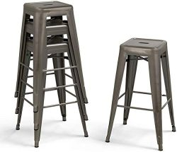 Bonzy Home Bar Stools Set of 4, 30 inches Metal Bar Stool Chair, Stackable Counter Height Barsto ...