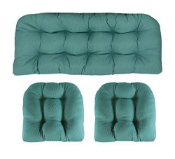 RSH Décor Indoor/Outdoor Wicker Cushions Two U-Shape and Loveseat 3 Piece Set (Aqua Blue Green T ...