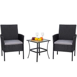 Viogarden 3 Piece Front Porch Furniture Set, Small Outdoor Wicker Patio Conversation Set, All We ...