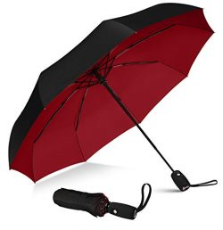 Repel Windproof Travel Umbrella with Teflon Coating (Black Red)