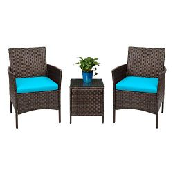 Devoko Patio Porch Furniture Sets 3 Pieces PE Rattan Wicker Chairs with Table Outdoor Garden Fur ...