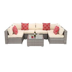 HTTH Outdoor Patio Furniture Wicker Sofa Sectional Outdoor All-Weather Bistro Set with 2 Pillows ...