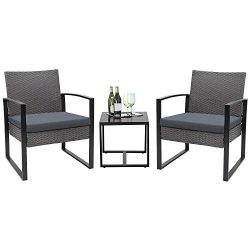 Flamaker 3 Pieces Patio Set Outdoor Wicker Patio Furniture Sets Modern Bistro Set Rattan Chair C ...