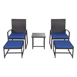 kinbor 5 Pieces Outdoor Backyard Wicker Furniture Set Patio Balcony Deck Chair with Ottoman Conv ...