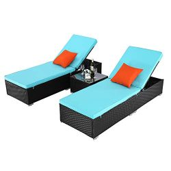 Do4U 3 Pieces Outdoor Patio Chaise Lounge Sets Adjustable Backrest Rattan Wicker Furniture Pool  ...