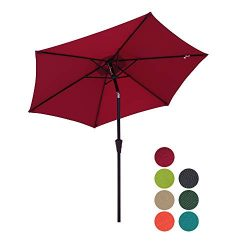 Patiorama 7.5 Feet Outdoor Patio Umbrella Outdoor Market Umbrella with Crank, 6 Ribs, Polyester  ...