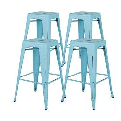Bonzy Home Bar Stools Set of 4, 24 inch Backless Metal Barstools, Distressed Designed, Stackable ...