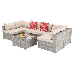Furnimy 7 PCS Outdoor Patio Furniture Set Cushioned Sectional Conversation Sofa Set Rattan Wicke ...