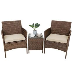 SUPER DEAL 3 Pieces All Weather Patio Conversation Furniture Set Outdoor Wicker Chairs with Tabl ...