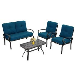Incbruce 4Pcs Outdoor Indoor Patio Furniture Conversation Set (Loveseat, Coffee Table, 2 Chairs) ...