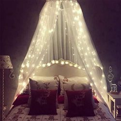 Mosquito Net for Bed, Bed Canopy with 100 led String Lights, Ultra Large Hanging Queen Canopy Be ...