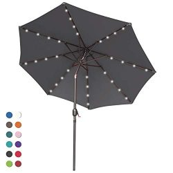 ABCCANOPY 9FT Patio Umbrella Ourdoor Solar Umbrella LED Umbrellas with 32LED Lights, Tilt and Cr ...