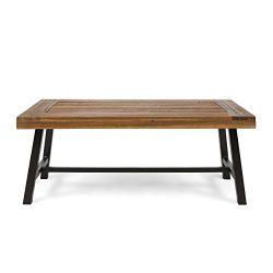 Christopher Knight Home 304571 Carlisle Outdoor Acacia Wood Coffee Table, Sandblast Finish/Rusti ...