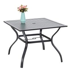 37″ Metal Steel Slat Patio Dining Table Square Backyard Bistro Table Outdoor Furniture Gar ...