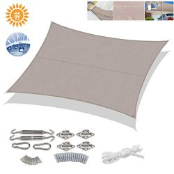 Sekey 10'x13′ Rectangle Sun Shade Sail with M8 Hardware Kit PES Polyester Waterproof ...