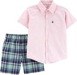 Carter's Baby Boys Oxford Plaid Button Down Shorts Set 6 Months Pink/Green/Blue