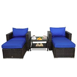 Leaptime Patio Rattan Sofa 5-PCS Outdoor Furniture Garden Sectional Sofa Brown Rattan Royal Blue ...