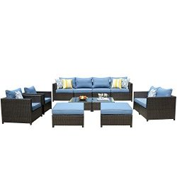 ovios Patio Furniture Set, Big Size Outdoor Furniture 12 Pcs Sets,PE Rattan Wicker sectional wit ...