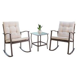 Oakmont 3-Piece Outdoor Rocking Chair Patio Furniture Bistro Sets 2 Chairs with Square Glass Cof ...