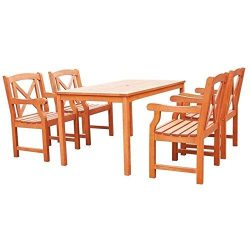 Vifah V98SET44 Malibu Outdoor 5-Piece Wood Patio Dining Set, Natural