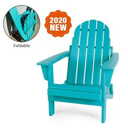 LAYRIAR HDPE Plastic/Resin Foldable Outdoor Adirondack Chair for Patio Deck Garden, Backyard &am ...