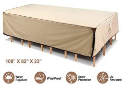 """Ohuhu Heavy Duty Patio Furniture Covers, 108"""" X 82"""" X 23"""" 600D Durable Canvas  ..."""