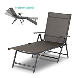Esright Outdoor Chaise Lounge Chair, Folding Textiline Reclining Lounge Chair for Beach Yard Poo ...