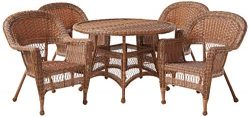 Jeco 5 Piece Wicker Outdoor Dining Set, Honey